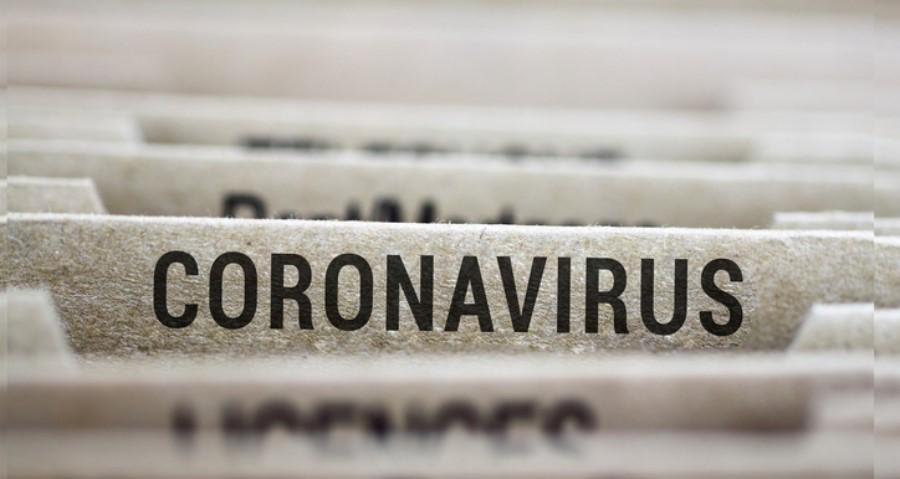 File folders with text: Coronavirus